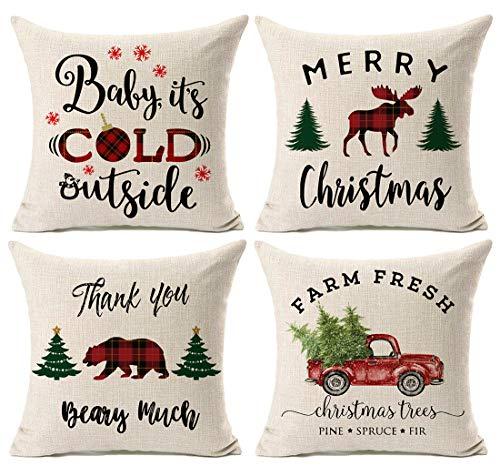 Kithomer Christmas Plaid Throw Pillow Cover Christmas Quote Pillow Case Cotton Linen Farmhouse Decor 18 x 18 Inch (Best Christmas Qoutes)