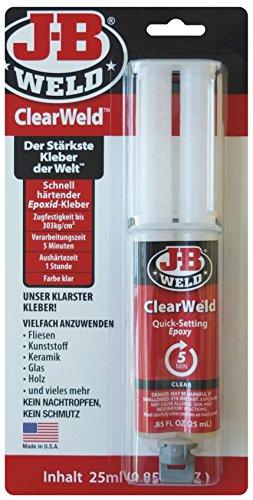JB Weld ClearWeld, schnell härtender, transparenter Epoxid-Kleber, fein dosierbar und sauber zu verarbeiten, 50112-DEU