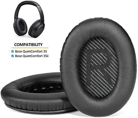 AGPtEK イヤーパッド 交換用イヤークッションBOSE QC35対応 音漏れ防止 外音遮断 取り付け簡単 粘着力が強くて 装着感がいい 耐用 柔軟[黒]