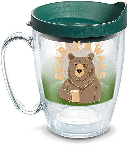 (Tervis 1290014 Snorg Tees - Bearly Awake Insulated Tumbler with Wrap and Hunter Green Lid, 16oz Mug, Clear)