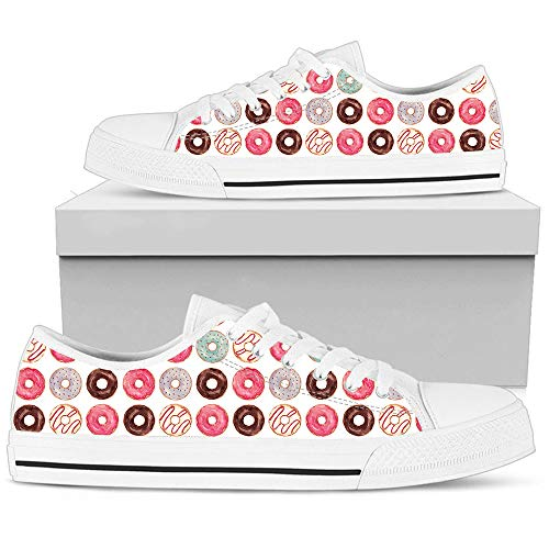 - Hand Painted Shoe Color Donut Sneakers Low Top Man Woman's Outdoor Sports Sneakers Casual Shoes Athletic Running Sneaker