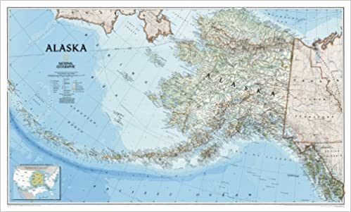 Alaska Wall Map Laminated Reference US National Geographic - Us map and alaska