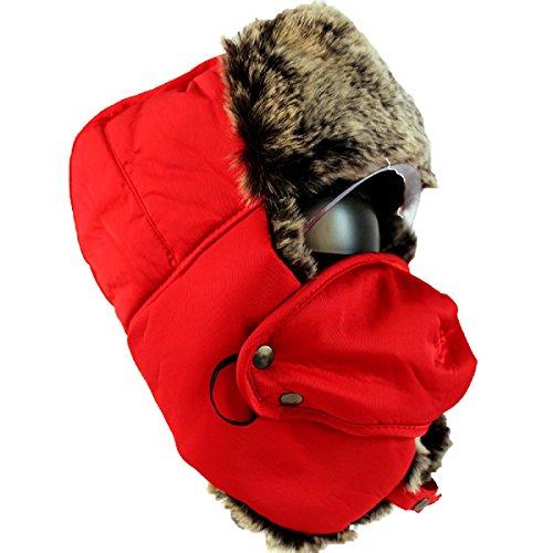 SOOCO Mens Warm Bomber Hat Máscara A Prueba De Viento Winter Ear Flap Unisex Ushanka Para El Esquí De Patinaje Hikin White