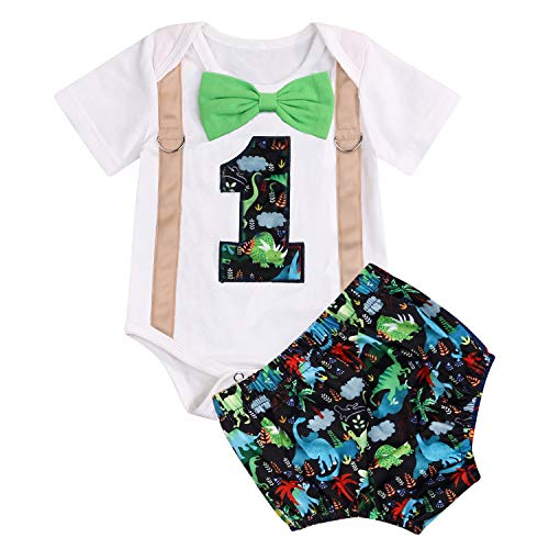 GRNSHTS Baby Birthday Dinosaur Outfits Infant Boy Short Sleeve Gentleman Bodysuit Cake Smash Party Clothes (Multicolor, 12-15 Months)