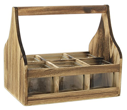 Lucky Winner Set of 6 Glass Cube Containers in Vintage Style Wooden Tool Box (Planter Style Box)
