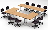 COMPACT SPACE MAXIMUM COLLABORATION – Meeting Seminar Conference Tables - ASSEMBLED Easy-To-Setup-and-Use - ''TeamWORK'' Model 2930 5pc Combo - Color Natural Beech- (Chairs NOT Included)