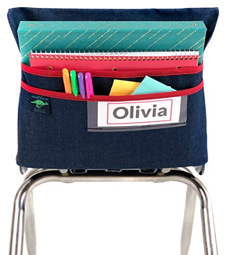 Aussie Pouch Chair Pocket with Double Pocket Design and Name Tag Pocket, Medium, 15 Inches, Red -