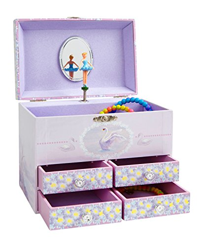 Jewelkeeper Stars And Swans Large Musical Ballerina Jewelry Storage Box With 4 Pullout Drawers, Girl's Jewel Box, Swan Lake Tune Picture