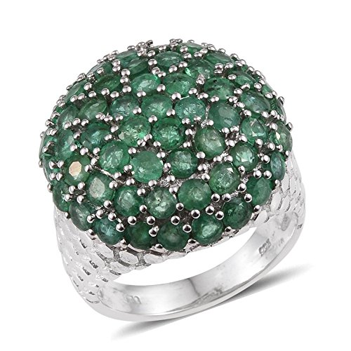 925 Sterling Silver Platinum Plated Round Emerald Cluster Fashion Ring For Women Size 8 Cttw 4.8 (Emerald Cluster Ring Setting)