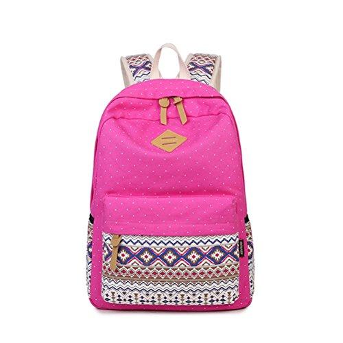 Winnerbag Vintage Sacs d'école pour les adolescents filles besace Sac de dame grande capacité Sac à dos Sac à dos en toile impression point gris Bookbag Bagpack Red