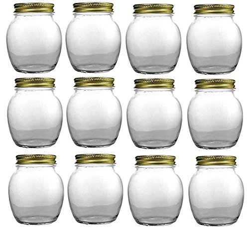 Nakpunar 12 pcs, 12 oz Globe Round Jars with Gold Lids - 1 lb Honey 1 Lb Gift Jar