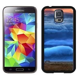 NEW Unique Custom Designed Samsung Galaxy S5 I9600 G900a G900v G900p G900t G900w Phone Case With Mountain Covered In Clouds_Black Phone Case