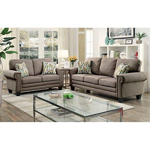 Furniture of America Kay 2 Piece Sofa Set in Gray by Furniture of America (Image #1)