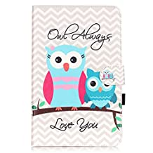 Galaxy Tab E 9.6 Case,T560 Case,Gift_Source [Card Slot] [Magnetic Closure] Colorful Synthetic Leather Wallet Folio Stand Cover for Samsung Galaxy Tab E 9.6-Inch SM-T560/SM-T561 [Owl]