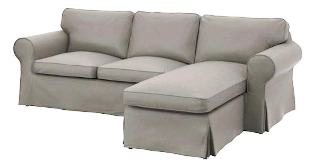 The Heavy Cotton Ektorp Loveseat With Chaise Lounge Cover Replacement Is Custom Made for Ikea Ektorp Sectional 3 Seat ( Three ) Sofa Slipcover. Cover Only! (Light Gray) by Custom Slipcover Replacement