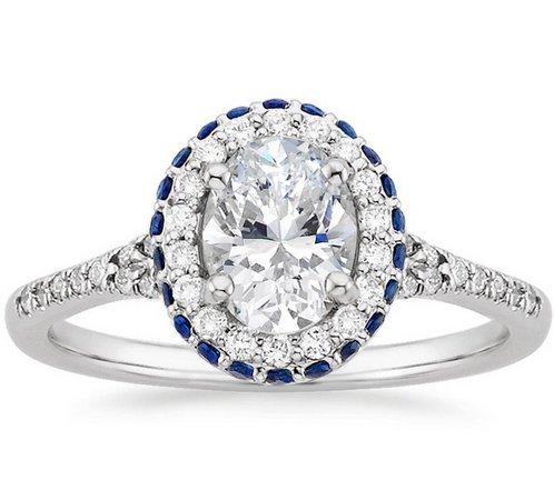 Gowe double Halo ovale 1CT Esdomera moissanites Or Massif 9K Or blanc diamant de fiançailles bague de mariage Couleur F Lab Cultivées Diamant