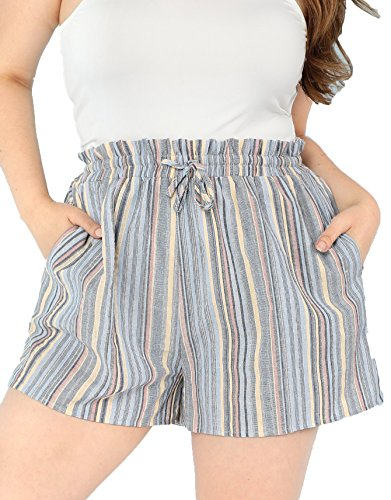 Floerns Women's Casual Plus Size Cotton Elastic Waist Self Belted Shorts Multicolor 2X (Belted Stretch Cotton)