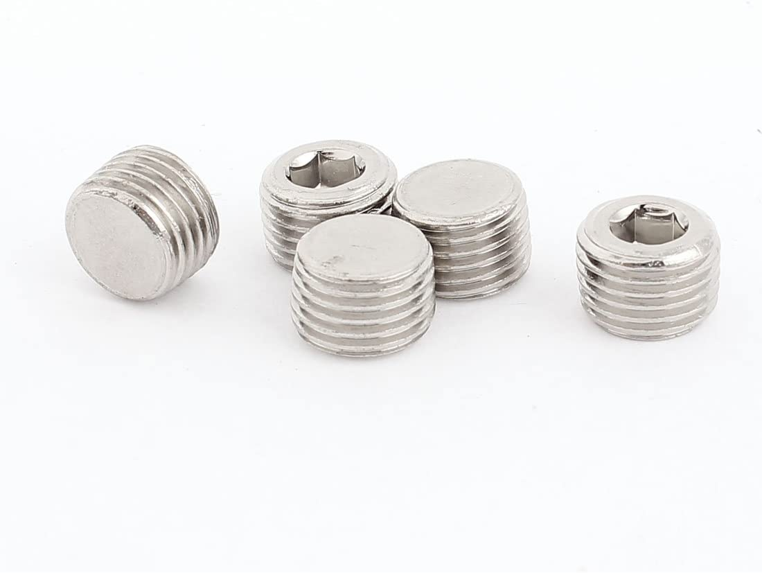 M10x12mm Cup Point Hex Socket Grub Set Screws 5pcs for Gear