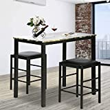 Rectangular Kitchen Dining Table Set Contemporary Dining Set Faux Marble Tabletop 3 Pcs Dining Room Table and Chairs Set for Home or Hotel Dining Room, Kitchen or Bar Dark Brown