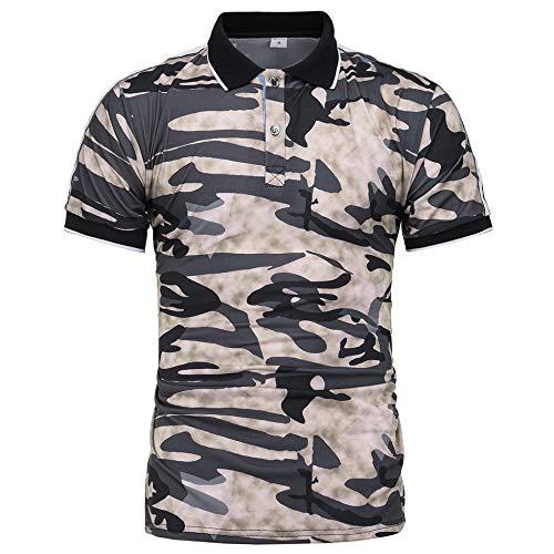 NISHISHOUZI Polo Homme,Polo Kaki Été Vêtements Hommes Manches Courtes en Coton Militaire Camouflage,Respirant Et… 1