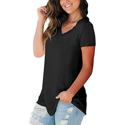 de81a667c54 Women Short Sleeve T Shirt, V Neck Solid Color Flowy Loose Summer Casual Blouse  Tee
