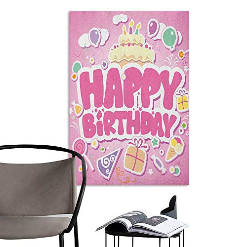 Alexandear Wall Paintings self-Adhesive Kids Birthday Cartoon Seem Party Image Balloons Boxes Clouds Cake Celebration Image Print Pale Pink 3D Bathroom Decal W32 x -