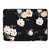 MOSISO Laptop Sleeve Bag Compatible 13-13.3 Inch MacBook Pro, MacBook Air, Notebook Computer, Vertical Style Water Repellent Polyester Protective Case Cover with Pocket, Black Base Peony