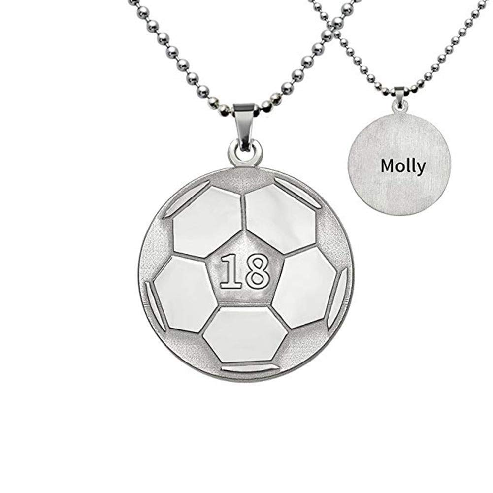 Elefezar Personalized Soccer Necklace in 925 Sterling Silver Custom Any Number and Name,Sports Jewelry