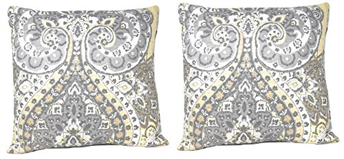 DaDa Bedding Set of Two Throw Pillow Cover - Bohemian Pale Daffodil Cushion Covers - Light Yellow Grey Floral Paisley - 2-Pieces (18