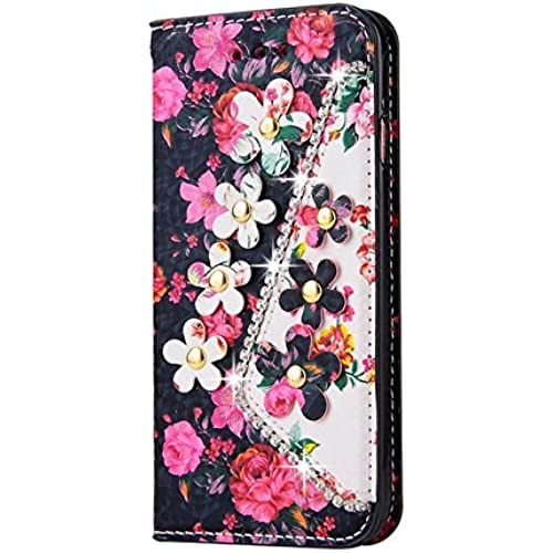 Samsung Galaxy S7 Inch Photo Wallet Card Case,Auroralove Black Colorful Flower PU Leather Case for Samsung S7 Sales