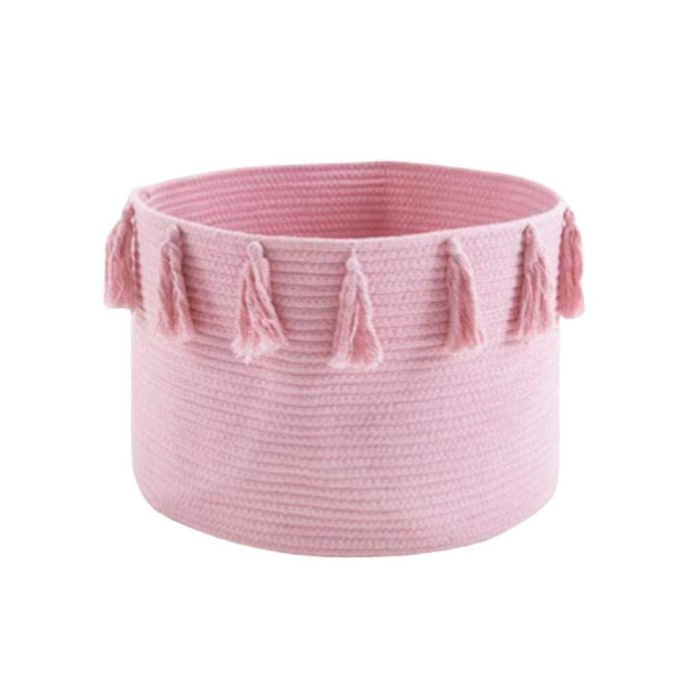 Baby Diaper Caddy Infant Nursery Storage Bin Organizer Newborn Toy Shower Gift Basket Cotton Rope Woven Tassel Basket Round 4530cm