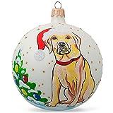 BestPysanky 4'' Yellow Labrador Dog Glass Christmas Ball Animal Ornament