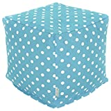 Majestic Home Goods Aquamarine Small Polka Dot Indoor Bean Bag Ottoman Pouf Cube 17″ L x 17″ W x 17″ H For Sale