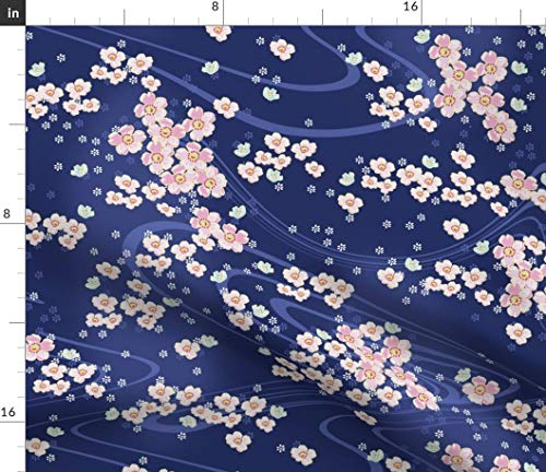 Cherry Blossoms Fabric - Japanese Cherry Blossoms Floral Flowers Pink Blue Japanese Pink Flowers Cherry Blossoms Floral by Lilyoake Printed on Linen Cotton Canvas Ultra Fabric by The Yard