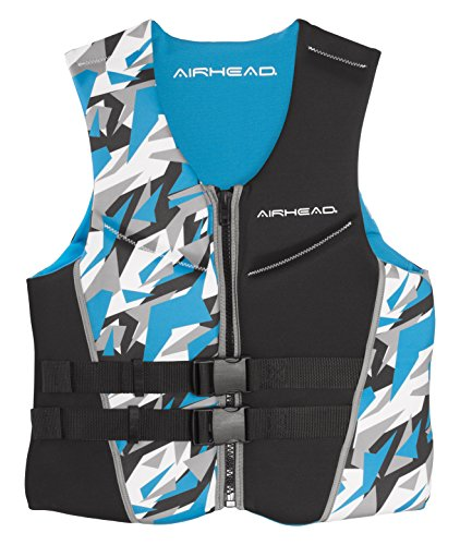 Airhead CAMO COOL Men's Kwik-Dry Neolite Life Vest, Blue, Large (Buckle Mens Vest 4)