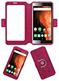 Acm SVIEW Window Designer Rotating Flip Flap Case for Micromax Canvas 6 Pro E484 Mobile Smart View Cover Stand Pink