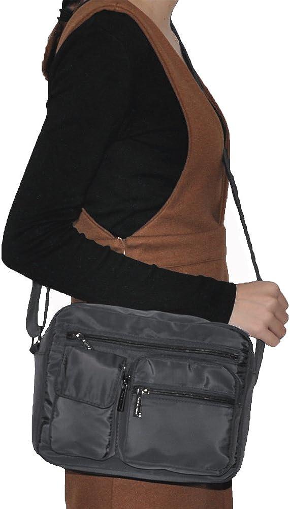 Volcanic Rock Shoulder Bags Messenger Handbags Multi Pocket Waterproof Crossbody Bags 6098-Gray
