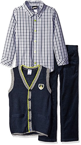 Boys Rock Little Boys' Toddler 3 Pc Sweater Vest Set Plaid, Navy, 4T