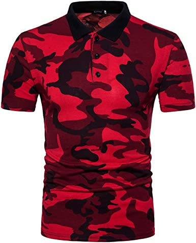 Xsayjia Camiseta para Hombre Verano Polo Camuflaje Camiseta ...