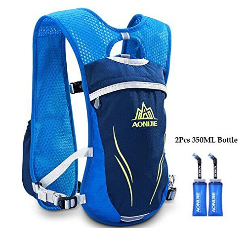 POJNGSN Hydration Nylon 5.5L Outdoor Running Bags Hiking Vest Cycling Backpack Blue 1 by POJNGSN (Image #1)