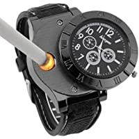 Electronic Lighter Quartz Watch USB Rechargeable Windproof Electronic Lighter