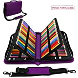 (US) WeiBonD 160 Slots Pencil Case, PU Leather, Large Capacity with Zipper Pen/Pencil Bag for Prismacolor Watercolor, Crayola Colored Pencils and Cosmetic Brushes (Purple)