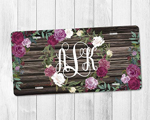 Personalized Monogram Aluminum License Plate with Rose Wreath and Reclaimed Wood Background