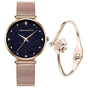 Relojes de Cuarzo analógicos para mujer niña de Agua 3ATM con Correa de Malla de Acero Inoxidable en Oro Rosa, Reloj de Pulsera con Elegante Esfera Azul y Cielo Estrellado 51u2YcRBQ3L
