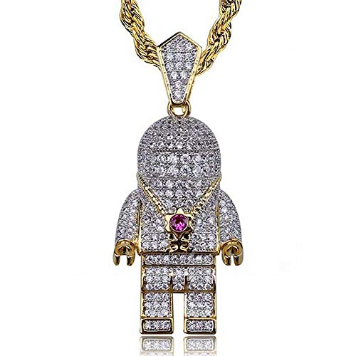 AOVR Hip Hop Cuban Link Chain 14k Gold Silver Plated CZ Crystal Fully Iced-Out Astronaut Pendant (Astronaut) 14k Gold Camera Pendant
