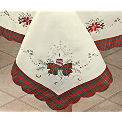 "Holiday Christmas Embroidered Poinsettia Candle Tablecloth 70x120"" & 12 Napkins Ivory"