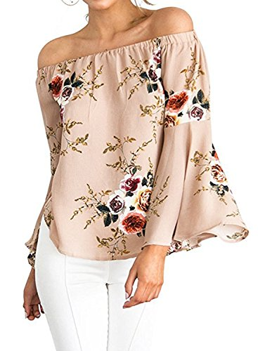 [ZESICA Women's Casual Floral Off the Shoulder Bell Sleeve Chiffon Blouse Shirt Tops, Pink, Medium] (Floral Ruffle Top)
