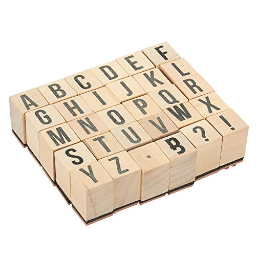 (Wooden ABC Stamps - 30-Piece Alphabet Stamps Letters and Symbols Set - Wood Mounted Rubber Stamps for Card Making, DIY Crafts, Scrapbooking)