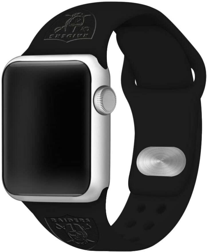 GAME TIME Las Vegas Raiders Debossed Silicone Sport Watch Band Compatible with Apple Watch (38/40mm - Black)