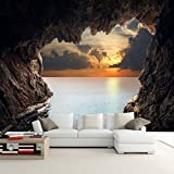 Ohcde Dheark Custom Photo Wallpaper 3D Stereoscopic Cave Seascape Sunrise Tv Background Modern Mural Wallpaper Living Room Bedroom Wall Art 250cmX175cm(98.4 by 68.9 in )